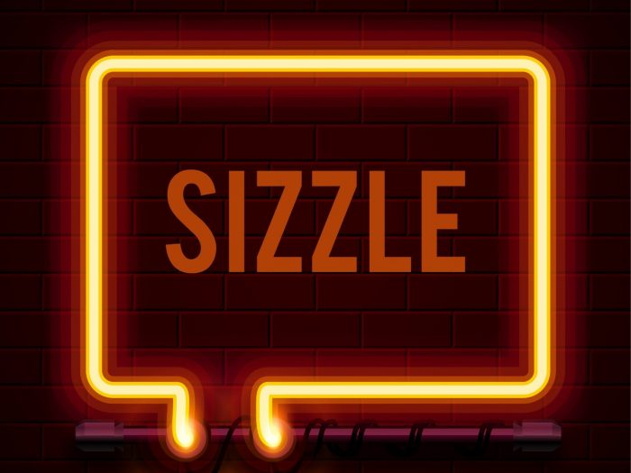 Sizzle logo - red text and square on black background